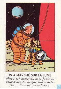 Carte postale - Tintin - On a marché sur la lune • Herge, Tintin et moi