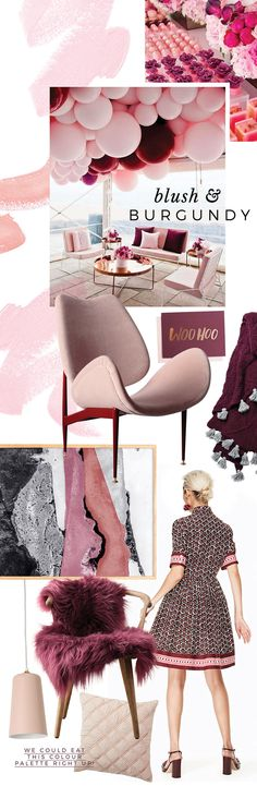 officially obsessed with 2017's hottest colour trend – burgundy and  blush pink. When the two hues combine, it's pure magic. The pale pink helps  to balance the richness of the burgundy – creating a perfect harmony.