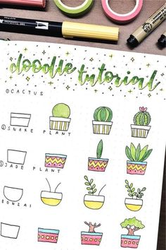 If you're looking to decorate your bullet journal then you need to check out these adorable cactus and succulent doodle tutorials for inspiration! Bullet Journal Paper, Bullet Journal Lettering Ideas, Bullet Journal Aesthetic, Bullet Journal Writing, Bullet Journal Ideas Pages, Bullet Journal Inspiration, Easy Doodles Drawings, Easy Doodle Art, Cute Easy Drawings