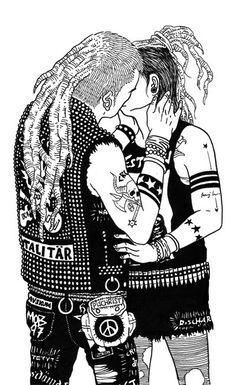 why dont speak about love? Shing Shang, Heavy Metal, Illustration Tumblr, Arte Punk, Anarcho Punk, Urban Tribes, Crust Punk, Punk Goth, Thrash Metal