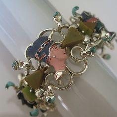 """Vintage Egyptian Revival Hobe Bakelite 1.5"""" Wide Bracelet #Hobe"""