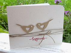 handmade card from Creating is Fun!: ... pair of die cut birds on twine lines ... clean and simple ... luv it!