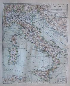 1888 ITALIEN ITALY alte Landkarte Antique Map