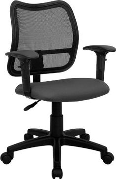 Induce a sleek look to your office with this Flash Furniture Mid-Back Mesh Swivel Task Chair with Navy Blue Fabric Padded Seat and Height Adjustable Arms. Swivel Office Chair, Mesh Office Chair, Home Office Chairs, Office Desk, Mesh Chair, Office Furniture, Drafting Chair, Grey Fabric, Black Mesh