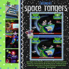 Disney world Buzz Lightyear Astro Blasters scrapbook page layout