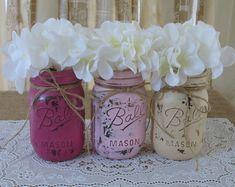 Mason Jars, Painted Mason Jars, Rustic Wedding Centerpieces, Baby Shower Decorations, Dark Pink, Light Pink And Creme Mason Jars on Etsy, $24.00