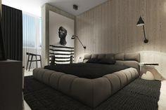 Intérieur de chambre conçu en blanc, gris et noir