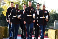 Groom & groomsmen dressed in United States Marine Corps dress blues   One Fine Day Photography   villasiena.cc