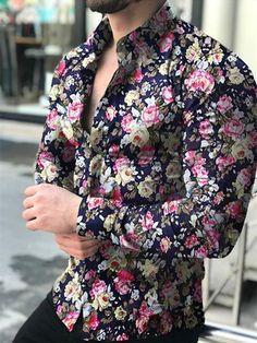 Casual Wear For Men, Casual Shirts For Men, Mens Printed Shirts, Men Shirts, Europe Fashion, Flower Shirt, Workout Shirts, Shirt Style, Long Sleeve Shirts
