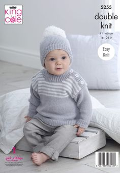 Knitting Patterns Boy Sweaters & Hats Knitted in Big Value Baby DK – King Cole Baby Cardigan Knitting Pattern Free, Kids Knitting Patterns, Baby Sweater Patterns, Knitting For Kids, Baby Patterns, Knitting Tutorials, Knitting Ideas, Baby Boy Sweater, Knit Baby Sweaters