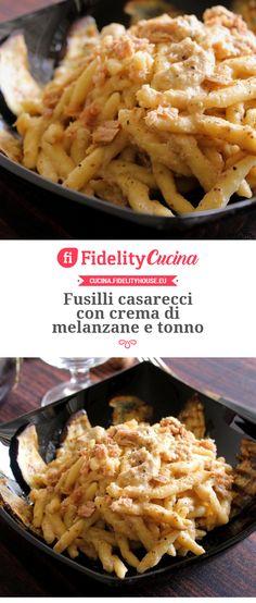 Homemade fusilli with aubergine and tuna cream - Primi piatti - Pasta Italian Cooking, Italian Recipes, New Recipes, Healthy Recipes, Fusilli, Pasta Recipes, Cooking Recipes, Pasta Maker, Snacks Für Party
