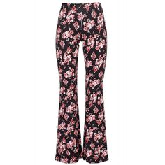 Black Coral Flower Power Alba Flare Pants ($145) ❤ liked on Polyvore featuring pants, flare trousers, flare pants, jersey pants, white flared pants and white flared trousers