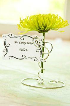 Silver Wedding Place Card Holder SALE Whimsical, elegant, bud vase, wedding favor, bridal party