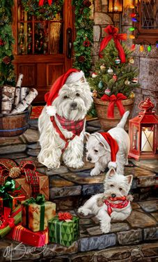 """New for 2015! SORRY SOLD OUT West Highland Terrier Christmas Cards are 8 1/2"""" x 5 1/2"""" and come in packages of 12 cards. One design per package. All designs include envelopes, your personal message, and choice of greeting.Select the inside greeting of your choice from the menu below.Add your custom personal message to the Comments box during checkout."""