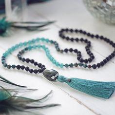 Calsilica Jasper, Aqua Agate and Lava Stone Hand-knotted Mala Beads, Blue Mala Necklace with Labradorite and Silk Tassel, 108 Mala Beads