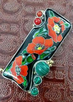 Enamel and gemstone poppy brooch.