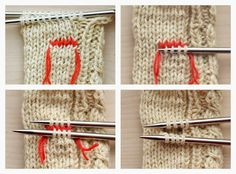 How to use waste yarn to create a thumb hole Cable Knit Hand Warmers - Free Knitting Pattern | Things We Do Blog