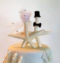 Cake topper that I made for my Niece's Starfish/Ocean themed wedding cake. Awe...just love that girl!