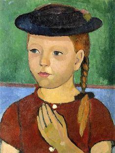 Paula Modersohn-Becker - A ginger girl with a black straw hat
