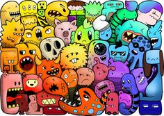 Doodles 3 Doodle Monster Coloring Pages Cute Doodle Art, Doodle Art Designs, Cool Doodles, Doodle Art Drawing, Kawaii Doodles, Little Doodles, Nature Drawing, Art Drawings, Drawing Ideas