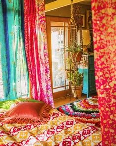 #PurpleBohemianBedroom Decor, Window Treatments Bedroom, Recycled Door, Curtains, Bohemian Headboard, Room Ideas Bedroom, Bohemian Bedroom Decor, Indie Room, Modern Wall Decor