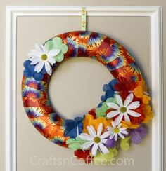 DIY a Tie Dye Ribbon Wreath. Super fast & super fun!