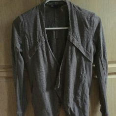 Armani exchange. Grey over shirt Charcoal greay like new. Stylish with cutouts . V cut in back. Armani Exchange Sweaters Cardigans