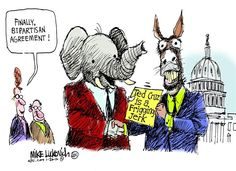 Bipartisan Agreement, Mike Luckovich,The Atlanta Journal Constitution,bipartisan,agreement,ted cruz,jerk,politics