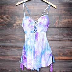 reverse official clothing tie dye pixie romper - purple – shop hearts