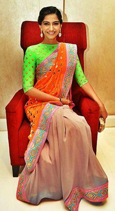 Sonam Kapoor in Manish Arora neon saree