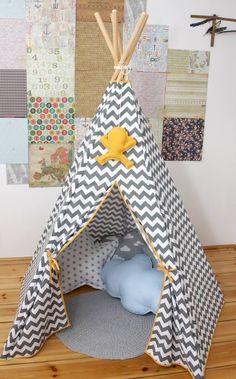 #pacztipi #pacz #teepee #tipi #wigwam #tent #chevron #pillows #stars #clouds #radosnafabryka #handmade Hanging Chair, Chevron, Toddler Bed, Kids Rugs, Clouds, Pillows, Stars, Cotton, Handmade