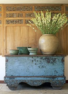 Beautiful antique painted chest. I love  how well the old and new work in this vignette.