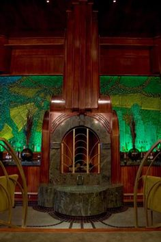 The Art Deco fireplace in the Atlantic Bar, Hollywood