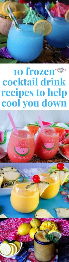 Easy frozen cocktail drink recipes to help you cool down this summer! Sour Cocktail, Lemonade Cocktail, Frozen Lemonade, Cocktail Drinks, Fun Drinks, Alcoholic Drinks, Cocktail Recipes, Beverages, Mixed Drinks