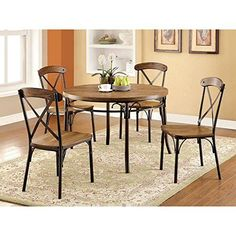 Furniture of America Stilson Industrial 5 Piece Round Table Set -- Click on the image for additional details.Note:It is affiliate link to Amazon. #tagblender