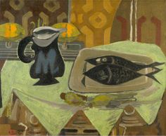 Georges Braque, Still Life with Black Fish, Collection of the Toledo Museum of Art. by Georges Braque. Pablo Picasso, Picasso And Braque, Alberto Giacometti, Georges Braque Cubism, Toledo Museum Of Art, Oil Painting Reproductions, Art Moderne, French Artists, Still Life