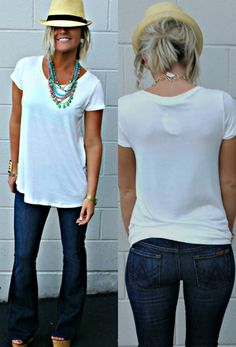 White Tee and 7 Jeans<3