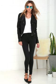 Weekday or not, spice up the night with the Up on a Tuesday Black Vegan Leather Jacket! This sleek moto jacket has a collared neckline, long sleeves with zipper cuffs, and eye-catching top-stitching throughout. Gunmetal zippers provide a centered front zipper, decorative zipper pockets, and horizontal zips above the hem.