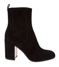 Shop the season's chicest statement pieces at #ShopBAZAAR - Gianvito Rossi Black Suede Chunky Heel Boot
