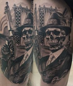 Tattoo Ramiz Kamalitdinov - tattoo's photo In the style Black and grey, Male, Skulls, Weap Tattoos Realistic, Scary Tattoos, Tattoos Skull, Skull Tattoo Design, Black Tattoos, Body Art Tattoos, Full Chest Tattoos, Half Sleeve Tattoos For Guys, Arm Sleeve Tattoos