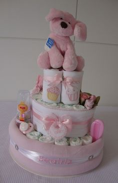 diy diaper cake gift idea for baby girl puppy toy pink
