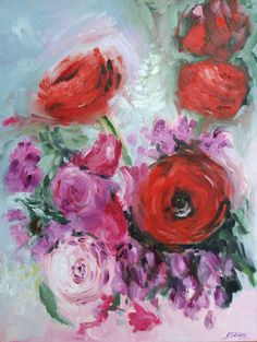 "Flowers Oil Painting Abstract Art Original // ""Romance"" 14 x 18"" Canvas on Etsy, £140.00"
