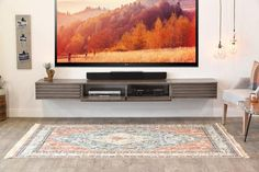Floating Wall Mount TV Stand - Lotus 3 Piece - Driftwood Gray