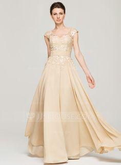 A-Line/Princess V-neck Floor-Length Chiffon Lace Mother of the Bride Dress (008062566)