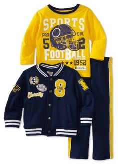 Little Rebels Little Boys' Three-Piece Varsity Jacket Set Boys Sweaters, Boys T Shirts, Baby Boy Fashion, Kids Fashion, Baby Boy Outfits, Kids Outfits, H&m Kids, Boys Suits, Boys Wear