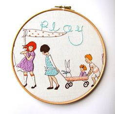 Play   Embroidery Hoop Art ready for display  8 x 8 by mirrymirry, $28.00