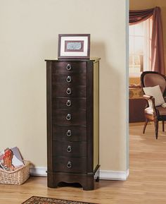Berkeley Jewelry Armoire / Cabinet / Organizer - 7 Drawers, Brown Color