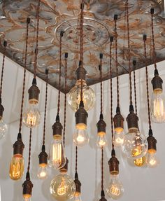 Vintage Industrial Tin Chandelier with Edison Pendants, No Frame, Suspended Moun industrial-chandeliers Industrial Chandelier, Industrial Lighting, Edison Bulb Chandelier, Industrial Windows, Edison Lighting, Chandelier Lamp, Chandeliers, Lantern Pendant, Metal Tins