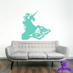 DJ Unicorn wall decal is great for a teen bedroom, living room, or any bedroom! Available in many different colors so it will look great