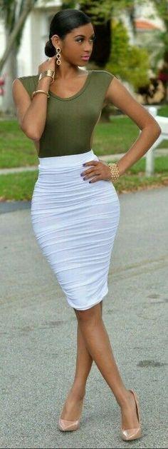Khaki top, white pencil skirt, nude heels. Elegant summer street women fashion outfit clothing style apparel @roressclothes closet ideas